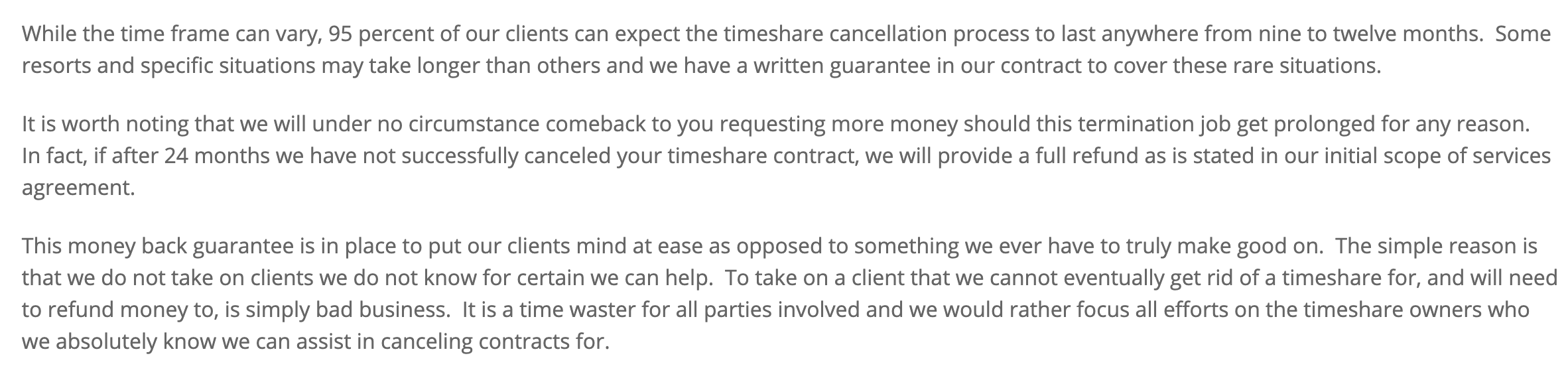 Average time to cancel your timeshare contract with Timeshare Freedom Group